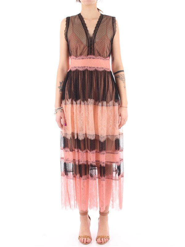 TWINSET Long dress Black / peach blossom