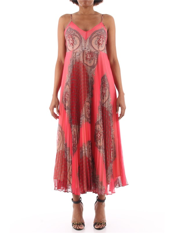 TWINSET Long dress St.foulard neon pink cashmere