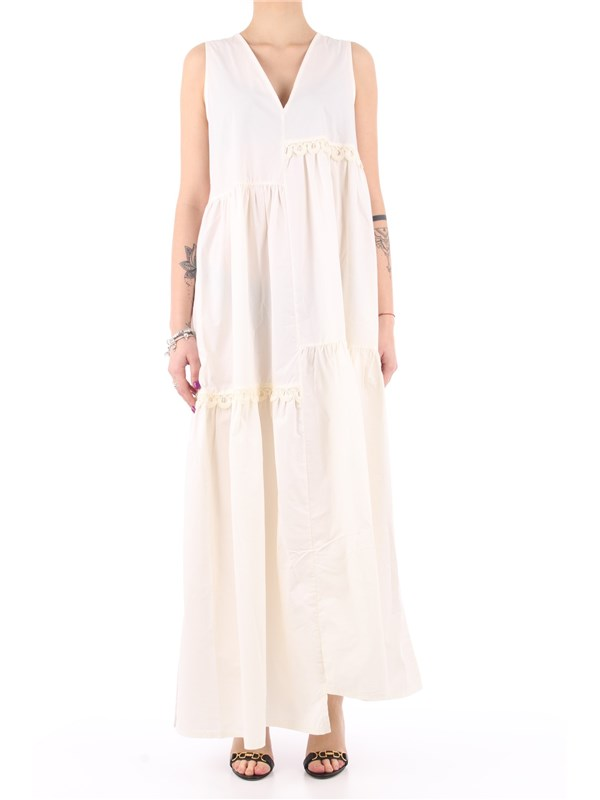 Manila Grace Long dress Off white