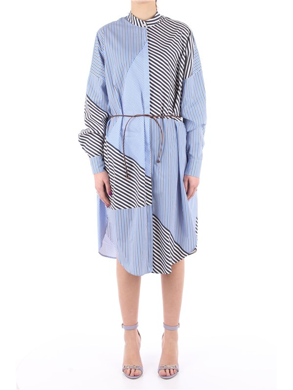 Manila Grace Chemisier dress Cerulean