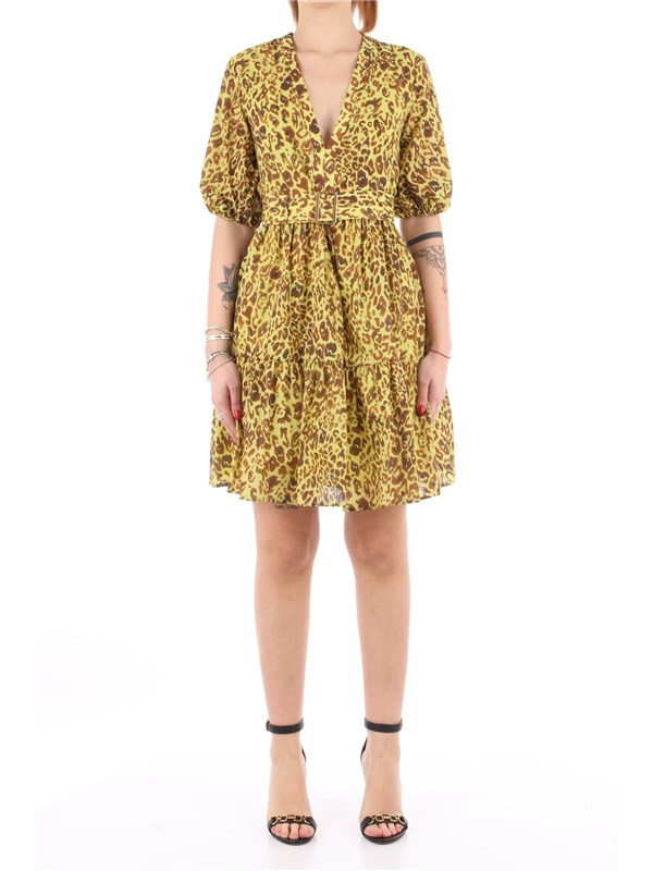 Pinko Short dress Acid green / brown